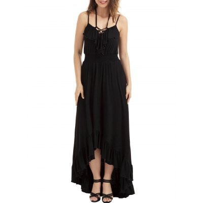 Lace-up High Low Ruffle Trim Slip DressMaxi Dresses<br>Lace-up High Low Ruffle Trim Slip Dress<br><br>Dress Type: Slip Dress<br>Dresses Length: Floor-Length<br>Elasticity: Super-elastic<br>Embellishment: Ruffles<br>Material: Spandex, Polyester<br>Neckline: Spaghetti Strap<br>Package Contents: 1 x Dress<br>Pattern Type: Solid Color<br>Season: Summer<br>Silhouette: High-Low<br>Sleeve Length: Sleeveless<br>Style: Cute<br>Weight: 0.6300kg<br>With Belt: No