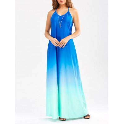 Sleeveless Low Back Maxi Ombre Dress