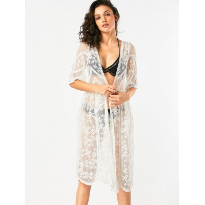 Sheer Lace Longline Cover Up CardiganWomens Swimwear<br>Sheer Lace Longline Cover Up Cardigan<br><br>Cover-Up Type: Top<br>Embellishment: Wave Cut<br>Gender: For Women<br>Material: Lace, Polyester<br>Neckline: Collarless<br>Package Contents: 1 x Cover Up Cardigan<br>Pattern Type: Plant<br>Shirt Length: Long<br>Sleeve Length: Half Sleeves<br>Waist: High Waisted<br>Weight: 0.2600kg