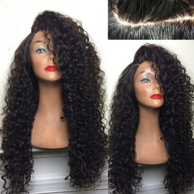 Long Shaggy Deep Side Part Kinky Curly Synthetic Wig