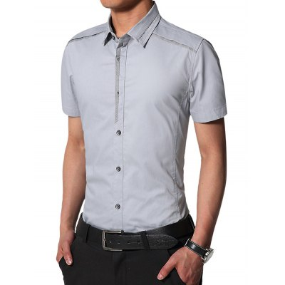 Edging Turndown Collar Slim Fit Cargo ShirtMens Shirts<br>Edging Turndown Collar Slim Fit Cargo Shirt<br><br>Collar: Turn-down Collar<br>Material: Cotton<br>Package Contents: 1 x Shirt<br>Pattern Type: Solid<br>Shirts Type: Casual Shirts<br>Sleeve Length: Short<br>Weight: 0.2540kg