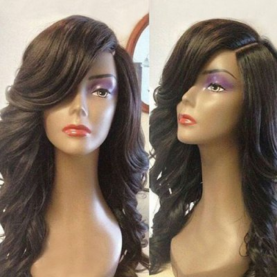 Long Deep Side Part Wavy Lace Front Synthetic Wig
