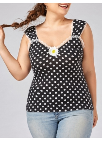 Plus Size Polka Dot Floral Patched Top