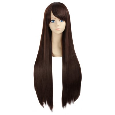 Ultra Long Side Bang Layered Silky Straight Synthetic Naruto Cosplay Anime Wig