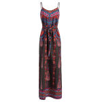 Stylish Cami Vintage Print Side Slit Women's Maxi Dress deal