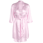 Cami Embroidered Babydoll and Fitting Wrap Robe deal