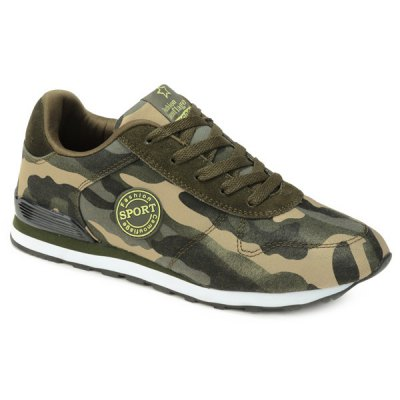 Trendy Tie Up and Camouflage Pattern Design Athletic Shoes For Men