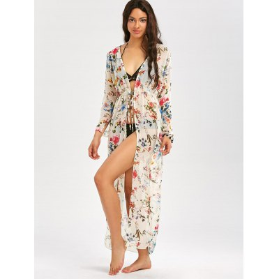 Drawstring Floral Print Beach Maxi Cover UpWomens Swimwear<br>Drawstring Floral Print Beach Maxi Cover Up<br><br>Cover-Up Type: Top<br>Embellishment: Adjustable Waist<br>Gender: For Women<br>Material: Polyester<br>Neckline: Collarless<br>Package Contents: 1 x Cover Up<br>Pattern Type: Print, Floral<br>Placement Print: No<br>Shirt Length: X-Long<br>Sleeve Length: Long Sleeves<br>Waist: High Waisted<br>Weight: 0.2200kg
