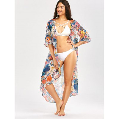 Beach Floral Print Longline Chiffon Cover UpWomens Swimwear<br>Beach Floral Print Longline Chiffon Cover Up<br><br>Cover-Up Type: Top<br>Gender: For Women<br>Material: Polyester<br>Neckline: Collarless<br>Package Contents: 1 x Cover Up<br>Pattern Type: Print, Floral<br>Placement Print: No<br>Shirt Length: X-Long<br>Sleeve Length: 3/4 Length Sleeves<br>Waist: Natural<br>Weight: 0.2000kg