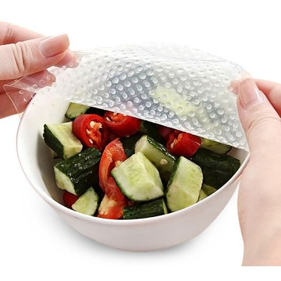 4Pcs Silicone Reusable Food Fresh Keeping Plastic Wrap