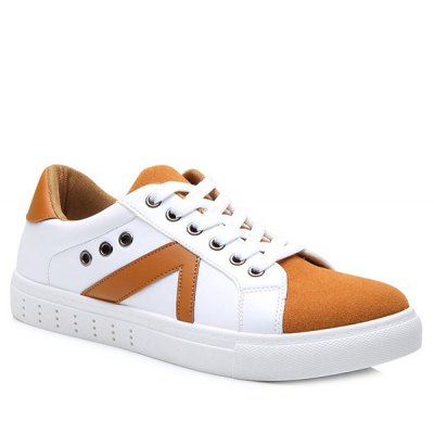 Eyelets Color Block Lace-Up Casual Shoes