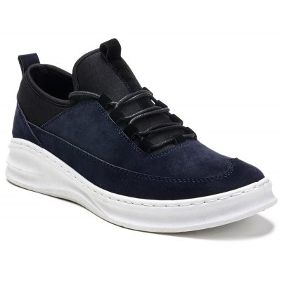 Stretch Fabric Suede Lace-Up Casual Shoes