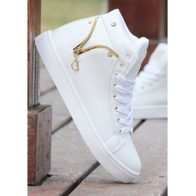 Lace Up Zipper PU Leather Casual Shoes