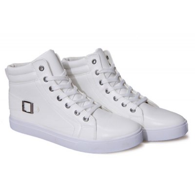 Buckle Strap High Top Lace Up Casual Shoes