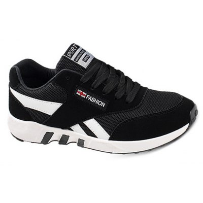 Breathable Lace-Up Color Block Athletic Shoes