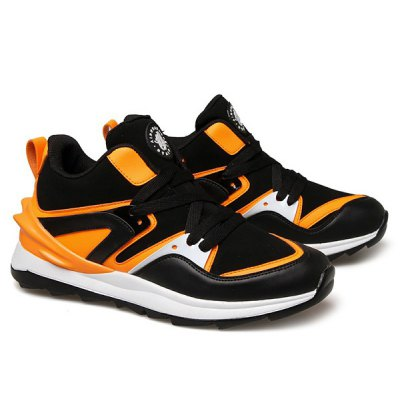 Splicing Suede Color Block Lace Up Athletic Shoes