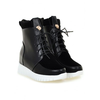 Metal Splicing Lace-Up Short Boots