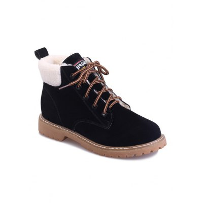 Suede Lace-Up Faux Shearling Short Boots