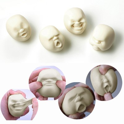4 Pcs Squishy Toy Stress Reliver Human Face Emoticon Balls