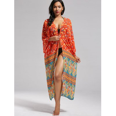 Boho Print Long Kimono Cover UpWomens Swimwear<br>Boho Print Long Kimono Cover Up<br><br>Cover-Up Type: Kimono<br>Gender: For Women<br>Material: Polyester<br>Neckline: Collarless<br>Package Contents: 1 x Cover Up<br>Pattern Type: Print<br>Shirt Length: Long<br>Sleeve Length: 3/4 Length Sleeves<br>Weight: 0.2000kg