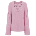 V Neck Long Sleeve Lace Up Sweater deal