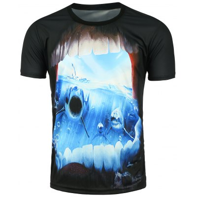 3D Shark Printed Short Sleeve T-shirt