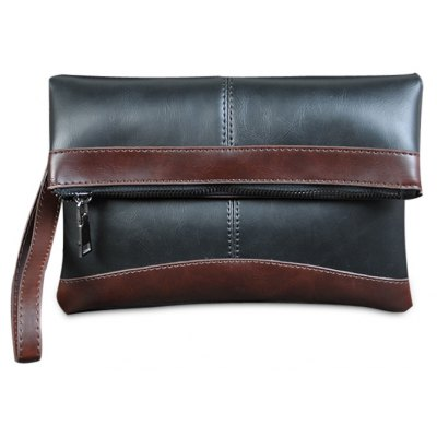 Contrast Color Fold Down Clutch Bag