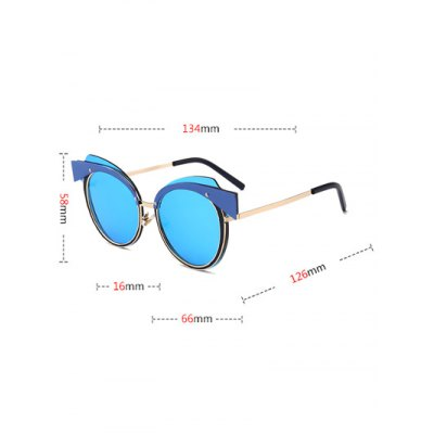 Cat Eye Metal Splicing Frame SunglassesStylish Sunglasses<br>Cat Eye Metal Splicing Frame Sunglasses<br><br>Frame Color: Gold<br>Frame Length: 13.4CM<br>Frame material: Other<br>Gender: For Women<br>Group: Adult<br>Lens height: 5.8CM<br>Lens material: Resin<br>Lens width: 6.6CM<br>Nose: 1.6CM<br>Package Contents: 1 x Sunglasses<br>Shape: Cat Eye<br>Style: Fashion<br>Temple Length: 12.6CM<br>Weight: 0.0364kg