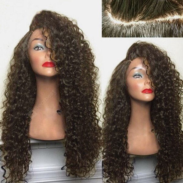 Buy Long Shaggy Deep Side Part Kinky Curly Synthetic Wig BROWN