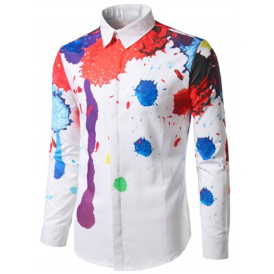 Hidden Button Paint Splatter Colorful ShirtMens Shirts<br>Hidden Button Paint Splatter Colorful Shirt<br><br>Collar: Turndown Collar<br>Material: Polyester<br>Package Contents: 1 x Shirt<br>Pattern Type: Print<br>Shirts Type: Casual Shirts<br>Sleeve Length: Full<br>Weight: 0.2700kg
