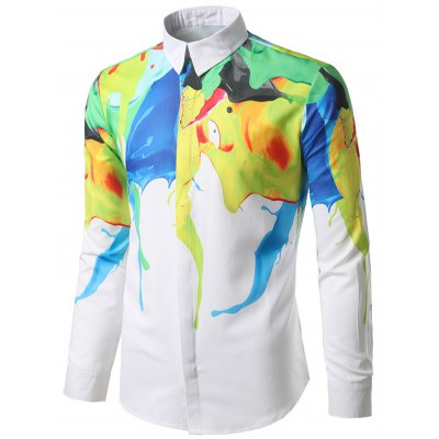 Abstract Paint Print Hidden Button ShirtMens Shirts<br>Abstract Paint Print Hidden Button Shirt<br><br>Collar: Turndown Collar<br>Material: Polyester<br>Package Contents: 1 x Shirt<br>Pattern Type: Print<br>Shirts Type: Casual Shirts<br>Sleeve Length: Full<br>Weight: 0.2700kg
