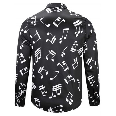 Turndown Collar Musical Note Print ShirtMens Shirts<br>Turndown Collar Musical Note Print Shirt<br><br>Collar: Turndown Collar<br>Material: Cotton<br>Package Contents: 1 x Shirt<br>Pattern Type: Print<br>Shirts Type: Casual Shirts<br>Sleeve Length: Full<br>Weight: 0.3600kg