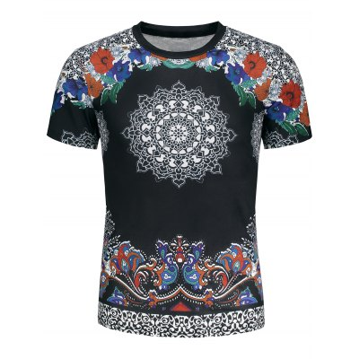 Crew Neck Ethnic Floral and Paisley Print T-shirtMens Short Sleeve Tees<br>Crew Neck Ethnic Floral and Paisley Print T-shirt<br><br>Collar: Crew Neck<br>Material: Polyester, Rayon<br>Package Contents: 1 x T-shirt<br>Pattern Type: Ethnic Print, Floral, Paisley<br>Sleeve Length: Short<br>Style: Fashion, Ethnic<br>Weight: 0.3000kg