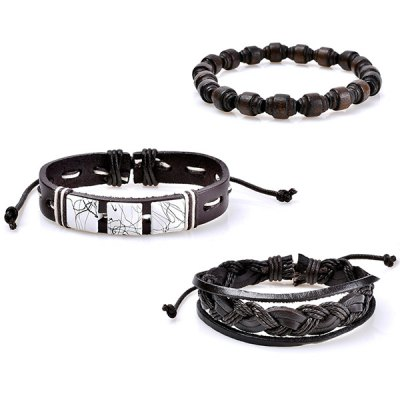 Faux Leather Layered Woven Friendship Bracelets SetBracelets &amp; Bangles<br>Faux Leather Layered Woven Friendship Bracelets Set<br><br>Chain Type: Leather Chain, Rope Chain<br>Gender: Unisex<br>Item Type: Strand Bracelet<br>Package Contents: 1 x Bracelet(Set)<br>Shape/Pattern: Round<br>Style: Trendy<br>Weight: 0.0400kg