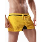 Buy Drawstring Graphic Embroidered Panel Sport Shorts L YELLOW