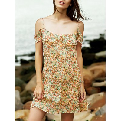 Stylish Cold Shoulder Cami Tiny Floral Ruffles Women's Dress