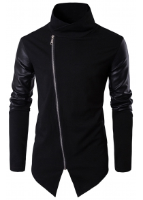 Asymmetrical Zip Faux Leather Panel Pullover Top Asymmetric Hoodie