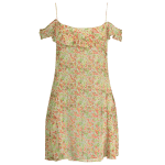 Stylish Cold Shoulder Cami Tiny Floral Ruffles Women's Dress deal
