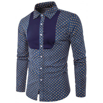 Color Block Panel Polka Dot Corduroy Shirt