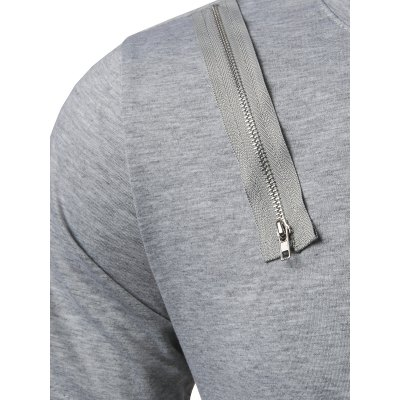 Zipper Embellished Arc Hem TeeMens Short Sleeve Tees<br>Zipper Embellished Arc Hem Tee<br><br>Collar: Crew Neck<br>Embellishment: Zippers<br>Material: Cotton, Polyester<br>Package Contents: 1 x Tee<br>Pattern Type: Solid<br>Sleeve Length: Short<br>Style: Casual<br>Weight: 0.2700kg