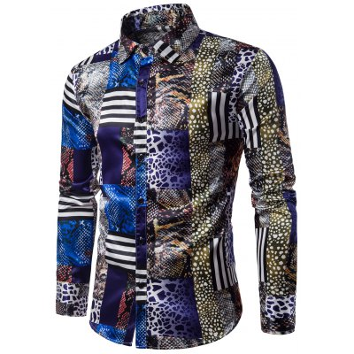 Turndown Collar 3D Snakeskin Pattern Print Panel Shirt