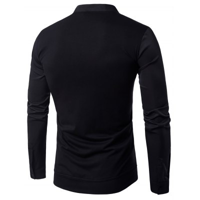 Stand Collar Long Sleeve Pullover ShirtMens Shirts<br>Stand Collar Long Sleeve Pullover Shirt<br><br>Collar: Stand Collar<br>Material: Cotton, Polyester<br>Package Contents: 1 x Shirt<br>Pattern Type: Solid<br>Shirts Type: Casual Shirts<br>Sleeve Length: Full<br>Weight: 0.2500kg