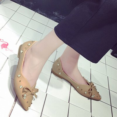 Faux Pearl Bowknot Point Toe Rhinestone FlatsWomens Sandals<br>Faux Pearl Bowknot Point Toe Rhinestone Flats<br><br>Closure Type: Slip-On<br>Embellishment: Rhinestone<br>Flat Type: Ballet Flats<br>Gender: For Women<br>Heel Height Range: Flat(0-0.5)<br>Occasion: Casual<br>Package Contents: 1 x Flats (pair)<br>Pattern Type: Solid<br>Season: Summer, Spring/Fall<br>Shoe Width: Medium(B/M)<br>Toe Shape: Pointed Toe<br>Toe Style: Closed Toe<br>Upper Material: PU<br>Weight: 1.1400kg