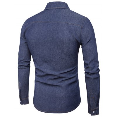 Turndown Collar Suture Design Label Denim ShirtMens Shirts<br>Turndown Collar Suture Design Label Denim Shirt<br><br>Collar: Turndown Collar<br>Material: Cotton, Jean<br>Package Contents: 1 x Shirt<br>Pattern Type: Solid<br>Shirts Type: Casual Shirts<br>Sleeve Length: Full<br>Weight: 0.2700kg