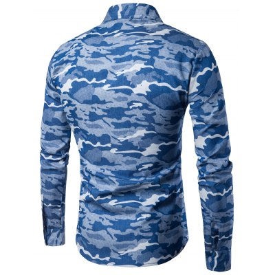 Turndown Collar Camouflage Denim ShirtMens Shirts<br>Turndown Collar Camouflage Denim Shirt<br><br>Collar: Turndown Collar<br>Material: Cotton, Jean<br>Package Contents: 1 x Shirt<br>Pattern Type: Camouflage<br>Shirts Type: Casual Shirts<br>Sleeve Length: Full<br>Weight: 0.2400kg