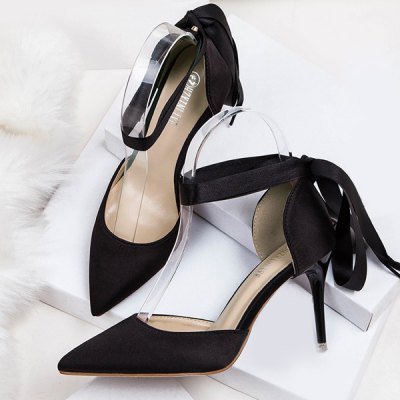 Two Piece Tie Up Satin PumpsWomens Pumps<br>Two Piece Tie Up Satin Pumps<br><br>Heel Height: 8.5CM<br>Heel Height Range: High(3-3.99)<br>Heel Type: Stiletto Heel<br>Occasion: Party<br>Package Contents: 1 x Pumps (pair)<br>Pumps Type: D'Orsay &amp; Two-Piece<br>Season: Spring/Fall, Summer<br>Shoe Width: Medium(B/M)<br>Toe Shape: Pointed Toe<br>Toe Style: Closed Toe<br>Upper Material: Satin<br>Weight: 1.5000kg