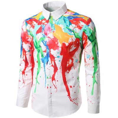 Paint Splash Hidden Button ShirtMens Shirts<br>Paint Splash Hidden Button Shirt<br><br>Collar: Turndown Collar<br>Material: Polyester<br>Package Contents: 1 x Shirt<br>Pattern Type: Print<br>Shirts Type: Casual Shirts<br>Sleeve Length: Full<br>Weight: 0.2700kg