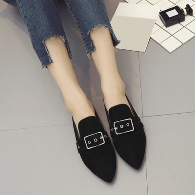 "Buckle Strap Pointed Toe SlippersWomens Pumps<br>Buckle Strap Pointed Toe Slippers<br><br>Embellishment: Buckle<br>Gender: For Women<br>Heel Height: 1CM<br>Heel Height Range: Flat(0-0.5"")<br>Heel Type: Flat Heel<br>Package Contents: 1 x Slippers (pair)<br>Pattern Type: Solid<br>Season: Summer<br>Shoe Width: Medium(B/M)<br>Slipper Type: Outdoor<br>Style: Fashion<br>Upper Material: Flock<br>Weight: 1.0800kg"