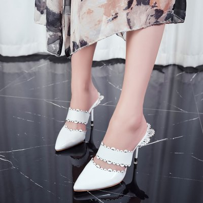 "Pointed Toe Scalloped SlippersWomens Sandals<br>Pointed Toe Scalloped Slippers<br><br>Gender: For Women<br>Heel Height: 9CM<br>Heel Height Range: High(3""-3.99)<br>Heel Type: Stiletto Heel<br>Package Contents: 1 x Slippers (pair)<br>Pattern Type: Solid<br>Season: Summer<br>Shoe Width: Medium(B/M)<br>Slipper Type: Outdoor<br>Style: Fashion<br>Upper Material: PU<br>Weight: 1.5000kg"