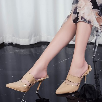"""Pointed Toe Scalloped SlippersWomens Sandals<br>Pointed Toe Scalloped Slippers<br><br>Gender: For Women<br>Heel Height: 9CM<br>Heel Height Range: High(3""""-3.99)<br>Heel Type: Stiletto Heel<br>Package Contents: 1 x Slippers (pair)<br>Pattern Type: Solid<br>Season: Summer<br>Shoe Width: Medium(B/M)<br>Slipper Type: Outdoor<br>Style: Fashion<br>Upper Material: PU<br>Weight: 1.5000kg"""